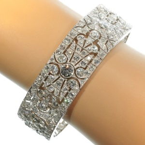 French Art Deco platinum diamond cuff bracelet with over 23 carats of brilliant